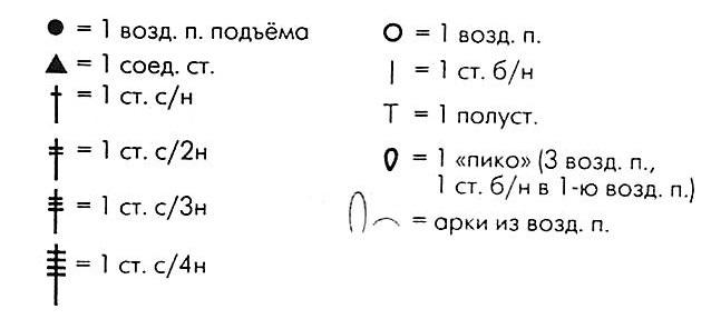 условные обозначения петель крючком - вариант 2
