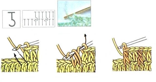 полустолбик с накидом за столбик нижнего ряда спереди