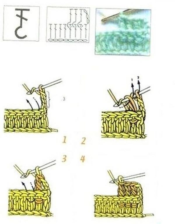 столбик с накидом за столбик нижнего ряда сзади