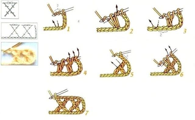 крестик из четырех столбиков с накидом