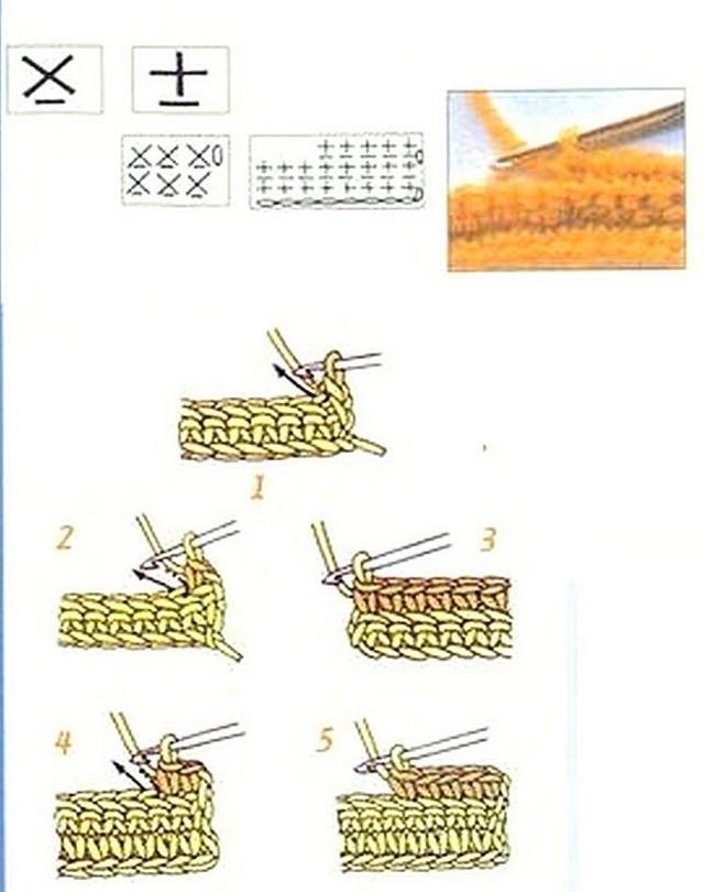 столбики без накида под переднюю стенку косички нижнего ряда