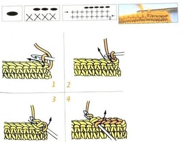 полустолбик без накида (или косичка поверх косички нижнего ряда)