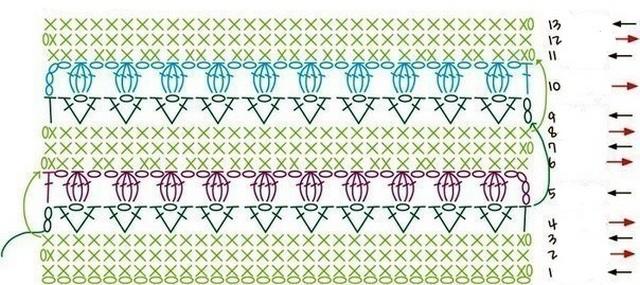 Схема к узору полоски с маленькими розочками