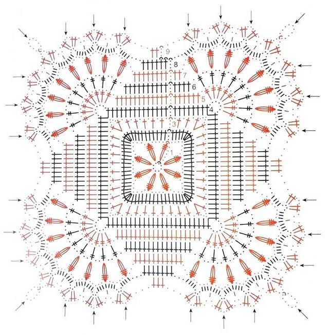 схема скатерти из мотивов с веерами