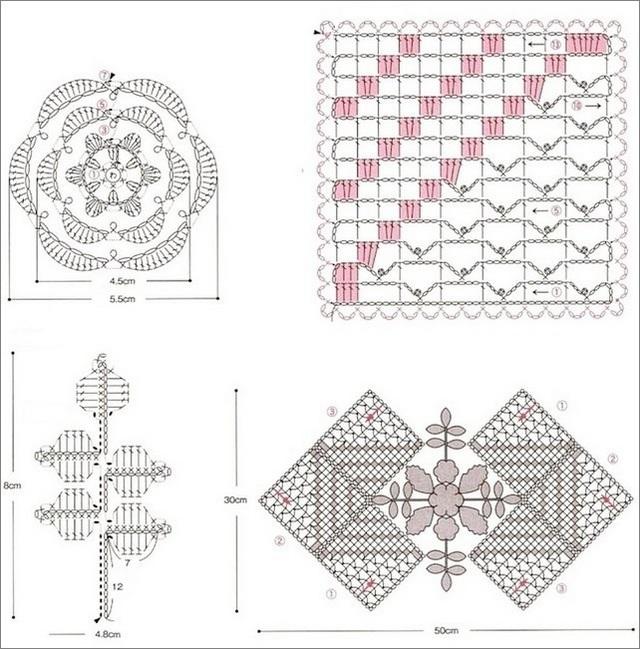 схема салфетки с розочками 1