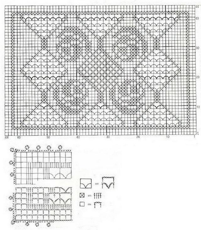 схема филейной прямоугольной с розочками