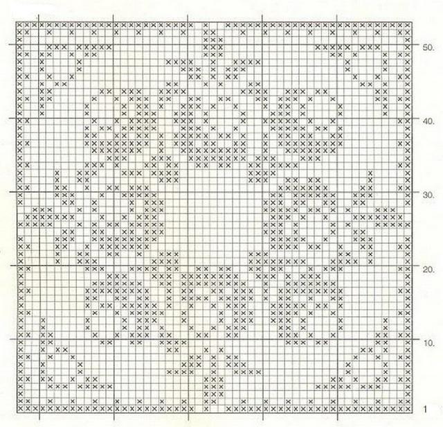 схема филейной с розочками